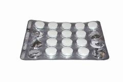 Tablettes die op wit wordt geïsoleerdr Stock Foto