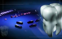 Tablettes et capsules dans un tube et des dents à essai Photos stock