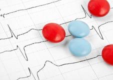 Tablettes et capsules pour le coeur de cardiogramme Photo stock