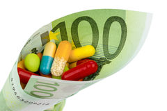 Tablettes et cent factures d'euro Images stock