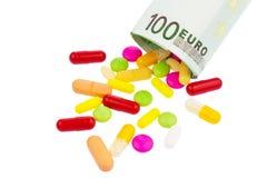Tablettes et note de l'euro 100 Images libres de droits