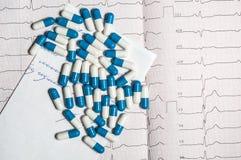 Tablettes sur l'électrocardiogramme Image libre de droits