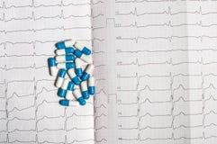Tablettes sur l'électrocardiogramme Photos libres de droits