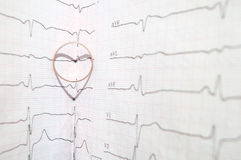 Tablettes sur l'électrocardiogramme Photo libre de droits