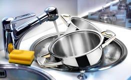 Tableware в раковине Стоковые Изображения RF