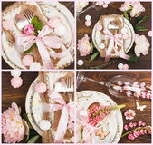 Tableware и silverware с цветками, помадками и украшениями Стоковые Изображения RF