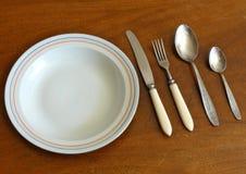 Tableware столового прибора на деревянном столе Стоковая Фотография