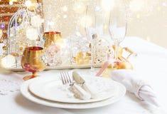 Tableware установленный для рождества Стоковые Изображения