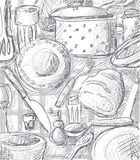 Tableware. Illustration without gradients. Printing friendly, easy to use royalty free illustration
