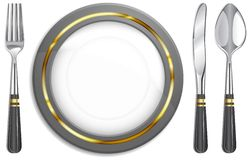 Tableware. White plate with fork, knife and spoon, illustration vector illustration