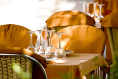 Tableware. Dishware prepared for dinner in restaurant Royalty Free Stock Images