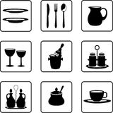 Tableware. Objects black and white silhouettes Stock Photos