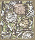 Tableware artwork. Illustration without gradients. Printing friendly, easy to use royalty free illustration