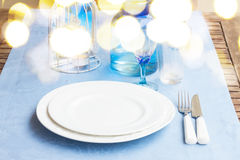 Tableware in blue colors Stock Photography