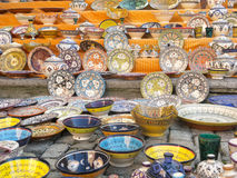 Tableware colored of Morocco. Royalty Free Stock Photos