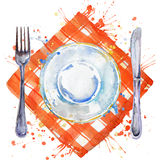 Tableware, cutlery, plates for food, fork, table knife and a cloth napkin. watercolor background illustration. Tableware, cutlery, plates for food, fork, table Stock Photos