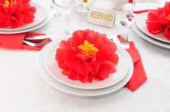 Tableware decoration paper towels Stock Image