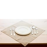 Tableware for dinner plates and forks Stock Photos