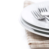 Tableware for dinner, selective focus, isolated Royalty Free Stock Images