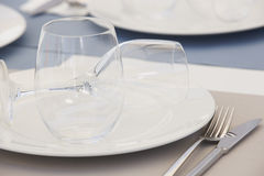 Tableware with dishes and cups detail in a restaurant Stock Photos