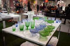 Tableware on display at HOMI, home international show in Milan, Italy Royalty Free Stock Image