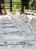 Tableware. Empty footed tumblers,glasses and party plates on festive served table Royalty Free Stock Images