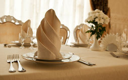 Tableware and glasses. At restaurant Royalty Free Stock Image