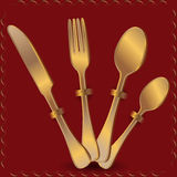 Tableware from gold Stock Photo