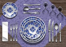 Tableware Gzhel Stock Photos