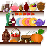 Tableware home on the shelves Stock Photo