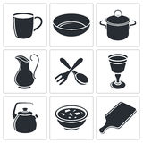 Tableware icon collection Royalty Free Stock Photos