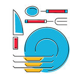 Tableware icon, plates, fork, spoon, knife. Line style. Vector illustration Stock Image