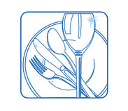 Tableware Icon white Stock Photo