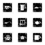 Tableware icons set, grunge style Royalty Free Stock Photo