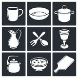Tableware Icons set Royalty Free Stock Photos