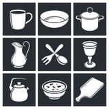 Tableware ikony ustawiać ilustracji