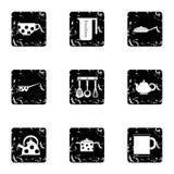 Tableware ikony ustawiać, grunge styl Zdjęcie Royalty Free