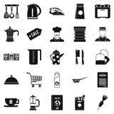 Tableware ikony ustawiać, prosty styl Fotografia Stock