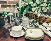 Tableware and jasmine flowers. retro style Royalty Free Stock Image