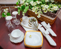 Tableware and jasmine flowers, top view Stock Images