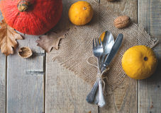 Tableware with leaves and pumpkin. Stock Image