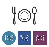 Tableware line icon. In different variants royalty free illustration
