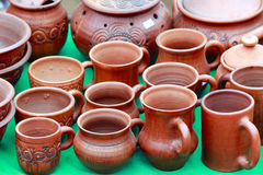 Tableware made of clay Stock Photo