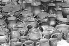 Tableware made of clay Royalty Free Stock Images