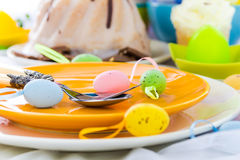 Tableware one person Easter table Royalty Free Stock Photos