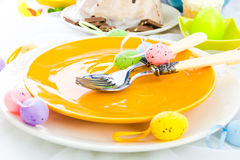 Tableware one person Easter table Stock Images