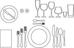 Tableware. Outline silhouette of tableware. Etiquette proper table setting royalty free illustration