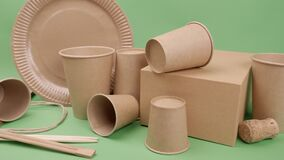 Tableware and packaging made of ecological materials on a green background.