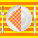 Tableware on pattern with napkin. (fork, knife and plate stock illustration