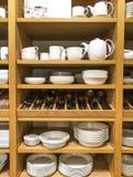 Tableware. Racks of tableware Stock Photo